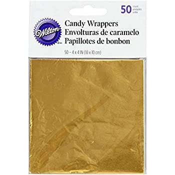 Wilton Foil Candy Wrappers 4 by 4-Inch Gold 50-Pack
