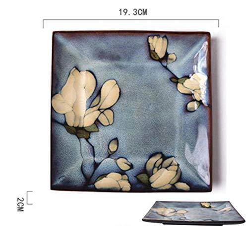 Teller Keramik Square Plate Originalität Round Dish Haushaltssteak Western-Style Food Flat Disc Dessert Disc Eine Suppe Frühstücksteller Bluec