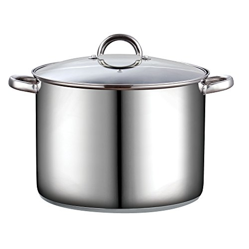 Cook N Home 02527 Stockpot with Lid, 16 Quart, Stainless Steel, Silver