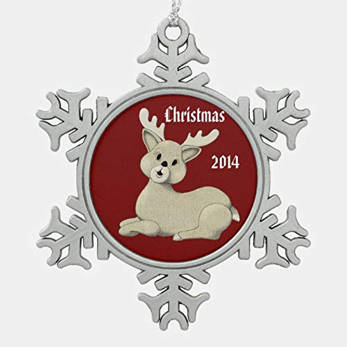 JamirtyRoy1 Christmas Ornament, Personalized Christmas Reindeer On Red Snowflake Pewter Christmas Ornament, Xmas Tree Hanging Decorations, Home Decor, Keepsake Gift, 3 inch Snowflake Ornament