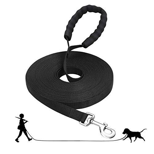 Fttouuy Schleppleine Hunde - 5m/ 10m/ 15m/ 20m Übungsleine mit Gepolsterten Griff- Robuste Trainings Leine aus langlebigem Nylon - Laufleine für große & Kleine Hunde