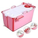 WEIMEI Bañera Portátil Adulto, Plegable Engrosado Bañar Tina Multifuncional, Largo Aislamiento Hora con Cubrir, Niños Bebé, 2 Colores (Color : Pink, Size : 81x42x53cm)