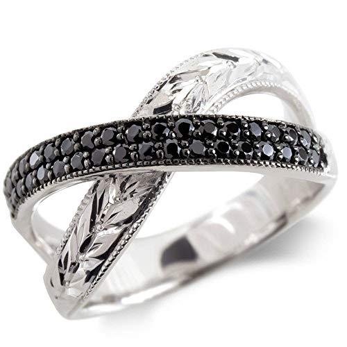 [アトラス]Atrus リング レディース pt900 プラチナ900 ブラックダイヤモンド 月桂樹 指輪 ミル打ち 幅広 ピンキーリング 5号