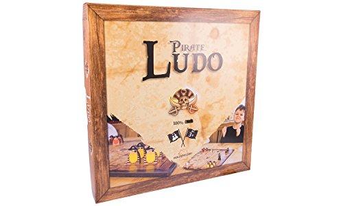 Piraten Ludo aus Holz, großes Brettspiel mit 40x40cm, für 2-4 Personen, Würfelspiel für Kinder und Erwachsene
