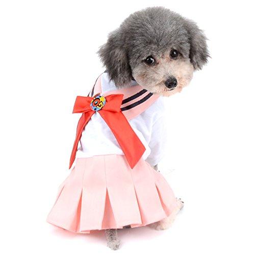 Ranphy 2018 NEUF Sailor uniforme scolaire Robe pour petit chien/chat Fille Nœud Jupe plissée Chiot Vêtements (Taille XS tout pour petit animal domestique)