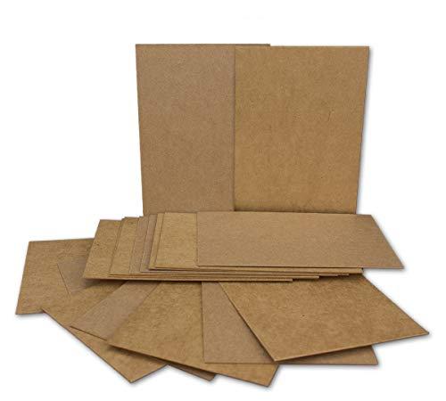 50x Kraftpapier-Einzel-Karten Din A7 10,5x7,3 cm 410 g/m² braun Einladungs-Karten zum Selbstgestalten & Basteln ideale Geschenkanhänger Bastelkarte