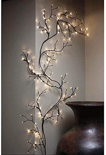 Lighted Willow Vine Twig Branches Garland Wall Decor Birch Tree with Fairy Lights Weeping, 144 LEDs 7.5FT Plug in, Corner Floor Standing Lamp for Living Room Bedroom Window Bookshelf Easter Indoor