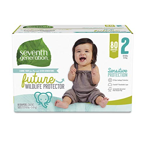 Seventh Generation Baby Diapers, Size 2, 80 Count, Super Pack, for Sensitive Skin