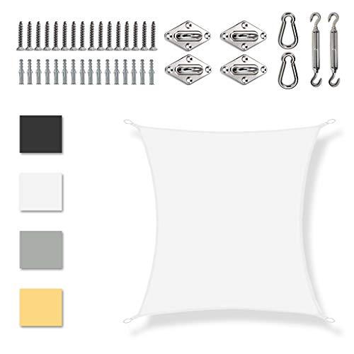 Toldo Vela de Sombra Rectangular 3x3.5m 95% de protección Rayos UV Velas de Sombra para Patio con Cuerda Libre para Fachada Exterior, Terraza, Jardín, Pérgola o Balcón, Blanco
