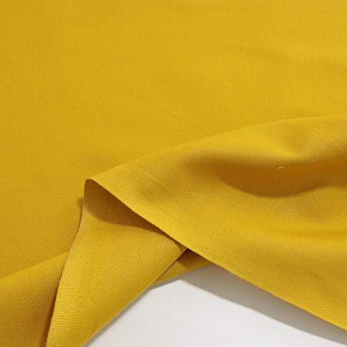 TOLKO Baumwollstoff | 42 kräftige ÖkoTex Farben Baumwoll-Nesselstoff uni Kleiderstoff Dekostoff | Baumwolle Meterware 150cm breit | Vorhang-Stoff Bezugsstoff Webstoff 50cm (Senf)