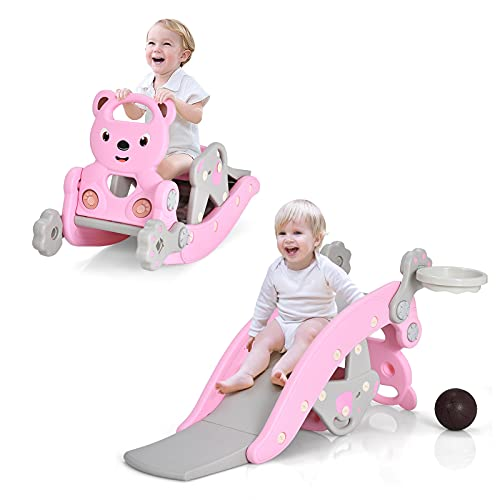 Costzon 4 in 1 Toddler Slide Rocking Toy, Portable Kids Rocking Horse Slide Toy with Basketball Hoop and Ring Game, Foldable Toddler Playground Slide Climber for Boys and Girls (Pink Bear)