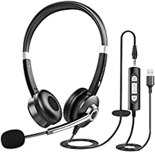 USB Computer Headset with Microphone for Laptop PC,3.5mm Wired Stereo Call Center Headset with Microphone Noise Cancelling, Corded Desktop Headphones with Mic & Mute for Office/Telework/Home/Kids/Zoom