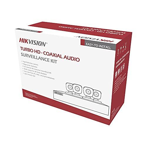 Syscom Kit TURBOHD 5 Megapixel/DVR 4 Canales / 4 Cámaras Bala con Micrófono Integrado (Exterior 2.8 mm) / Fuente de Poder/Accesorios de Instalación