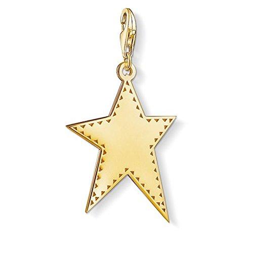 Thomas Sabo Colgante Charm Estrella dorada Charm Club de Mujer, Plata de Ley 925, baño de oro amarillo de 18 quilates