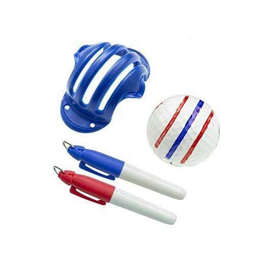 Keeplus Golfball Triple Track 3-Linien-Markierungsschablone ERC Chrome Soft Odyssey 2 Pen - Ausrichtungsmarkierungswerkzeug für Golf-Trainingsvorlagen (Radom-Farbe)