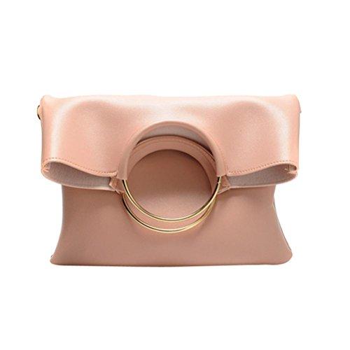 Kangrunmy Borse Tracolla Desigual Moda Donna In Pelle Cerchio Borse A Spalla Con Corssbody Bag + Portafoglio Borse Borbonese Tracolla (Rosa)