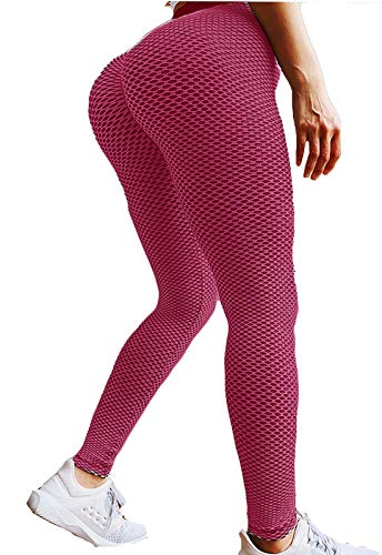 FITTOO Leggings Mallas Mujer Pantalones Deportivos Yoga Alta Cintura Elásticos y Transpirables Rosa Chica