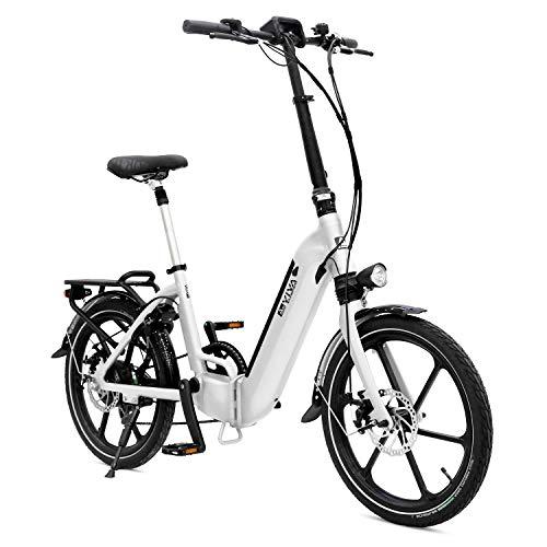 AsVIVA E-Bike B13 Stadtfalter 20 Zoll, Faltrad (14,0Ah Akku), Klapprad, 7 Gang Shimano Kettenschaltung, Bafang Heckmotor, Scheibenbremsen, weiß