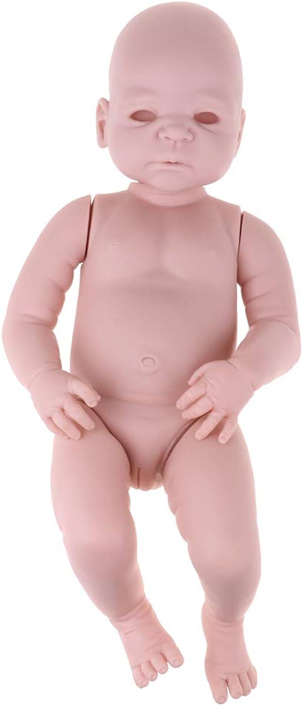 Prettyia 100% Safe Soft Silicone 22inch Reborn Awake Baby Girl Doll Kits Fresh color Simulation Toddler Model DIY Birthday Gifts