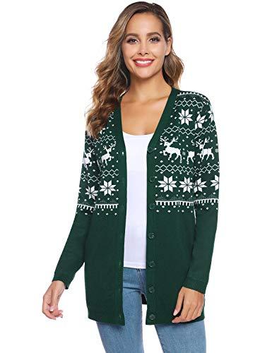 Abollria Women's Christmas Reindeer Cardigan Sweater Button Down Long Sleeve Cardigan Knit Sweater Cardigan Green