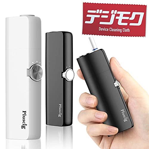 Pluscig K8 正規品 加熱式たばこ 互換機 互換 50本連続 予熱5秒 ダイヤル式 スターターキット デジモク クリーニングクロス付 本体 電子タバコ 電子たばこ 温度調整 時間調整 自動クリーニング (ホワイト)