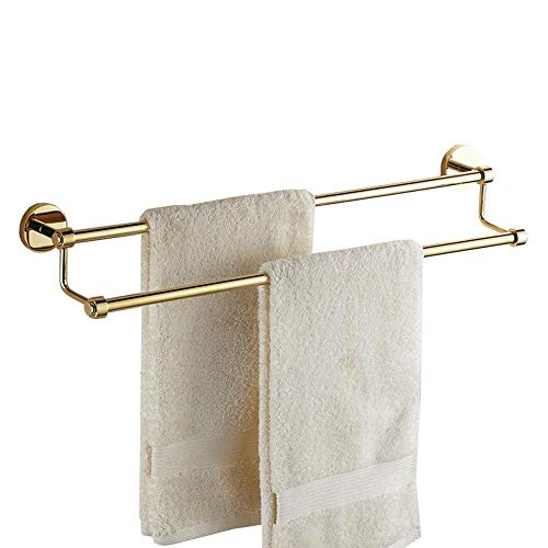 LIYONG Handtuchschienen Alle Kupfer und Gold Badetuch Bar Bad Tuch Bar Doppelstange Titanium Anhänger Handtuchständer (Größe: HLSJ (Size : 40X13cm)