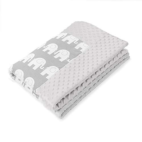 Amilian Kuschelige Babydecke FLAUSCHIG Decke Kinderdecke Babydecke 75x100 Kuscheldecke für Baby Bett ideal als Tagesdecke, Kinderwagendecke oder Spieldecke geeignet Muster: Elefant Grau