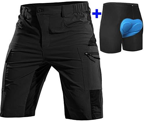 Cycorld MTB Hose Herren Radhose, Schnelltrocknend Mountainbike Hose Fahrradhose mit 4D Sitzpolster, Elastische Outdoor Sport Herren Radlerhose MTB Bike Shorts (Neu-Schwarz, XL)