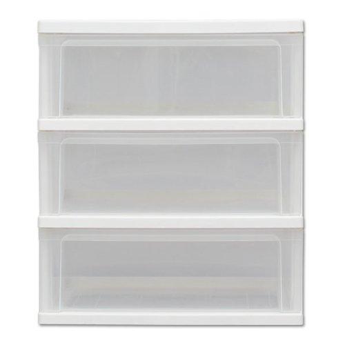 アイリスオーヤマチェストワイド3段日本製完成品幅54×奥行40×高さ62.5cmホワイト/クリア白プラスチック天板W-543