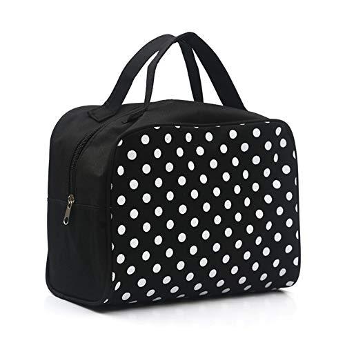Qinlee Tragbare Kosmetiktasche Große Kapazität Handtasche Kulturbeutel Weiße Punkte Waschbeutel Frauen Mädchen für Home Travel (Schwarz)