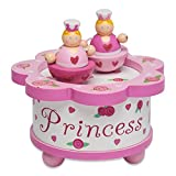 Lucy Locket – Caja de música rosa de princesas – Caja de madera de música con figuras móviles magnéticas – Cajas de música infantiles
