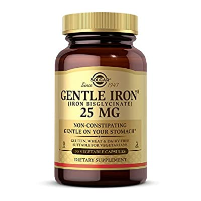 Solgar Gentle Iron 25mg, 90 Vegetable Capsules - Ideal for Sensitive Stomachs - Non-Constipating - Red Blood Cell Supplement - Non GMO, Vegan, Gluten Free, Dairy Free, Kosher - 90 Servings
