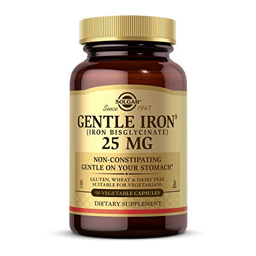 Solgar Gentle Iron (Iron Bisglycinate) 20 mg Vegetable Capsules - Pack of 90