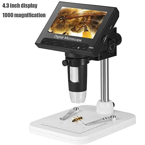 HUNDAN 4,3-Zoll-HD-LCD-Display-Elektronen-Mikroskop, 1000X Vergrößerungs Endoskope, Einstellbare Hohe Helligkeit 8 LED-Leuchten, Mini Portable (USB-Aufladung)