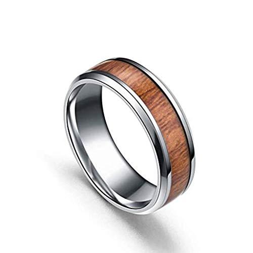 Gkmamrg Damen Herren Edelstahl Holz Ring 8mm Biker Holzschmuck Ehering Hochzeitsband Bandring Trauringemit Ketten 60cm Silber für Männer Frauen