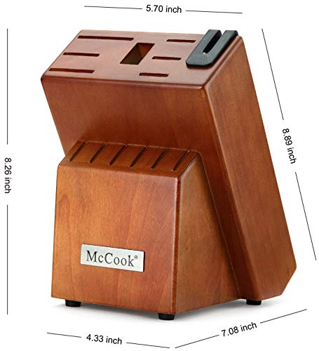 McCook MC29 Knife Sets,15 Pieces German Stainless Steel Kitchen Knife Block Sets with Built-in Sharpener