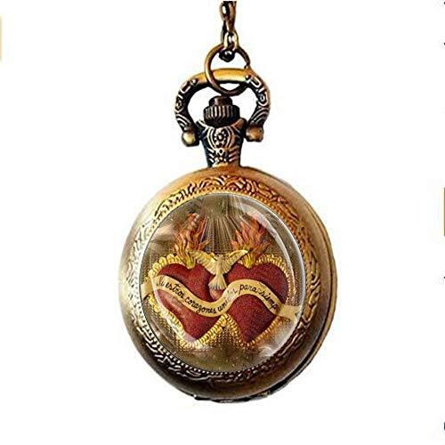 Collar de reloj de bolsillo del Sagrado Corazón de Jesús – Collar con medalla católica religiosa cristiana