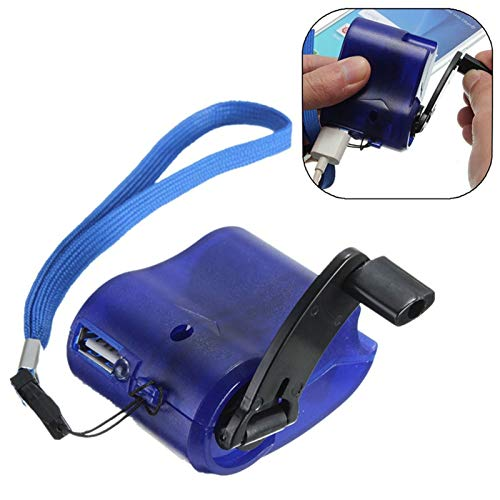 Cargador de Emergencia DC 5.5V 300mAh USB Manual de manivela Manual Dynamo para teléfonos móviles Player MP3 Viaje al Aire Libre Cargador USB USB (Color : Blue)
