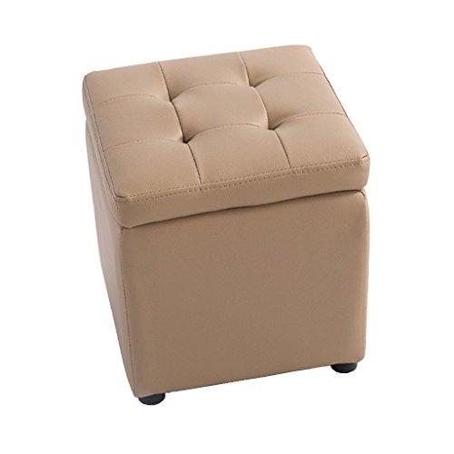 Poufs et repose-pieds Coffre de stockage tabouret en bois de tabouret de haute qualité de PVC CubesMax charge 300 kilogrammes deux couleurs (Couleur : Brown, taille : 40cmx40cmx40cm)