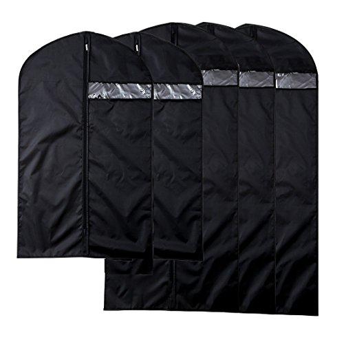 AnTeck nero traspirante in nylon Oxford Abbigliamento Copre abiti borse Protector coperture antipolvere con top Hanger hole, confezione da 5, 128 cm x 60 cm, 2 grande, 3 medio 100 cm x 60 cm