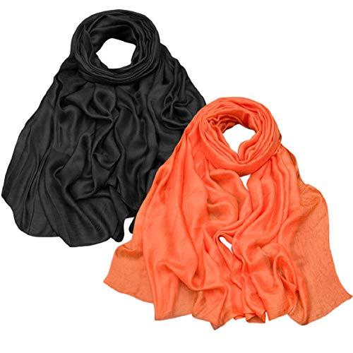 Yuson Girl Chal de gasa ligera para vestidos, multifuncional, pareo, falda envolvente para vacaciones, para mujer, largo verano, boho, playa, en colores brillantes Negro y naranja. M