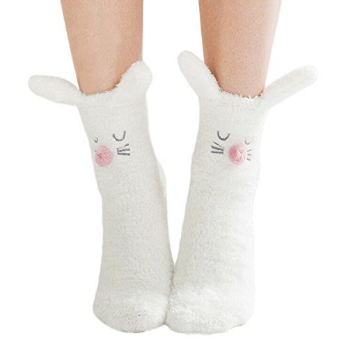 ZOYLINK Damen Bodysocken Winter Warme Socken 3D Cute Cartoon Schlafsocken für Mädchen