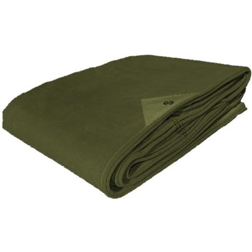 Military Outdoor Clothing New Heavy Duty Canvas Tarp, Olive Drab, 16 x 20-Feet