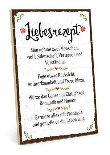 TypeStoff Holzschild mit Spruch – LIEBESREZEPT – Grafik-Bild bunt, Schild, Wandschild, Türschild, Holztafel, Holzbild als Geschenk und Dekoration (19,5 x 28,2 cm)