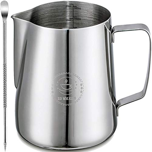 Milk Frothing Pitcher 20oz,Espresso Steaming Pitcher 20oz,Espresso Machine Accessories,Milk Frother cup 20oz,Milk Coffee Cappuccino Latte Art,Stainless Steel Jug