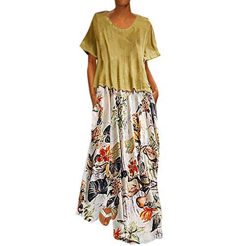 Damen Lange Kleider Sommerkleid Leinenkleid Mode Tops Vintage Print Patchwork Oansatz Zwei Stücke Plus Größe Taschen Maxi Dress Einfarbig Bluse Gelb 4XL