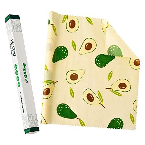 HEYECO Bienenwachs-Wraps Rolle, Wiederverwendbare wachspapier, bienenwachstücher aus bienenwachs-Bio und Öko Baumwolle für Lebensmittelverpackung (Weißes Muster)
