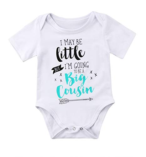 Newborn Baby Boys Girls Bodysuit I May be Little But I'm Going to Be A Big Cousin Bodysuit Onesies Baby Romper (A-White, 0-6M)