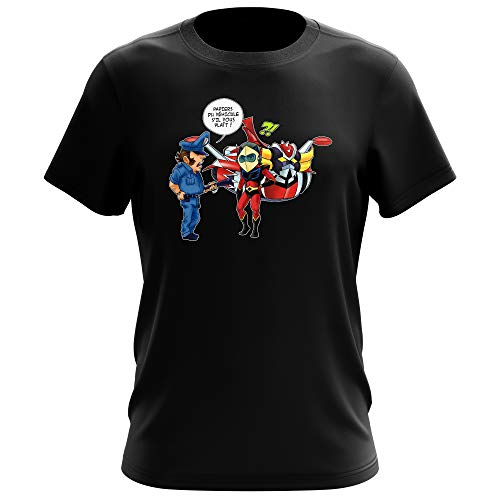 Okiwoki T-Shirt Noir Goldorak parodique Actarus : Papiers du véhicule s'il Vous plaît ! (Parodie Goldorak)