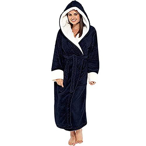 Albornoz de tamaño grande para mujeres y hombres después de la ducha con capucha de tejido de rizo peludo, unisex, cálido invierno albornoces cinturones, Azul marino/flor y...